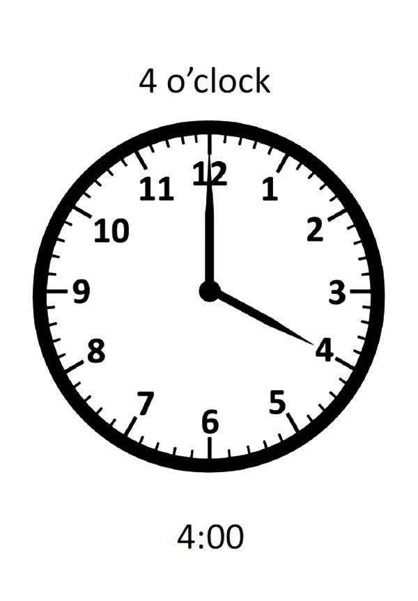 04 Oclock On Analog Clock Coloring Pages