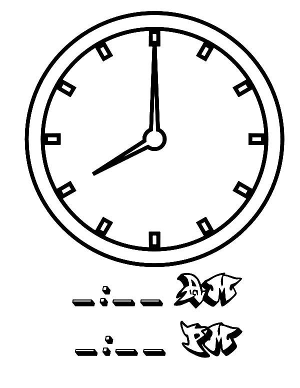 08 Clock On Analog Clock Coloring Pages