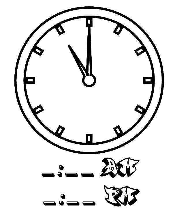 11 Clock On Analog Clock Coloring Pages