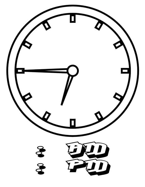 15 To 07 Clock On Analog Clock Coloring Pages