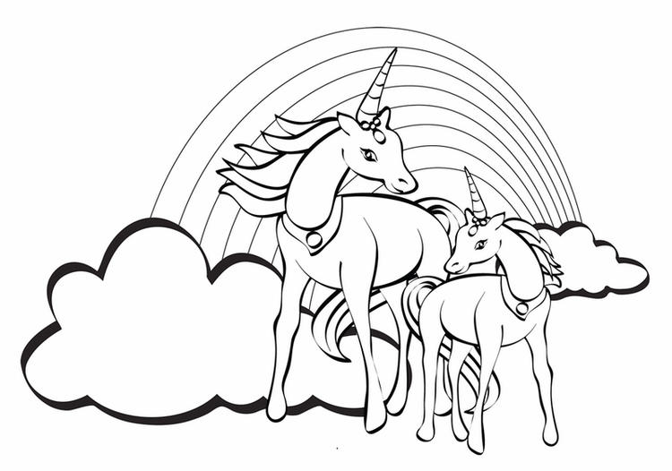 2 Unicorn Flying On The Sky Coloring Picture
