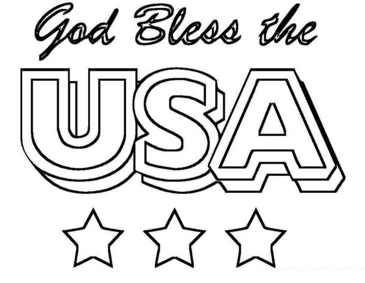 4th Of July Coloring Pages God Bless Usa