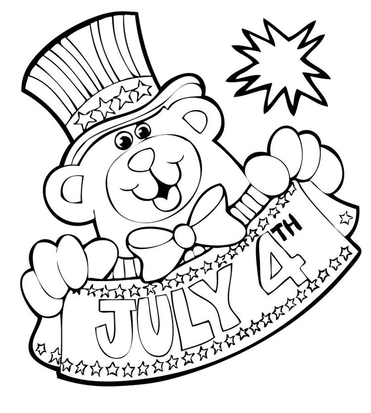 4th Of July Coloring Pages Teddy Bear