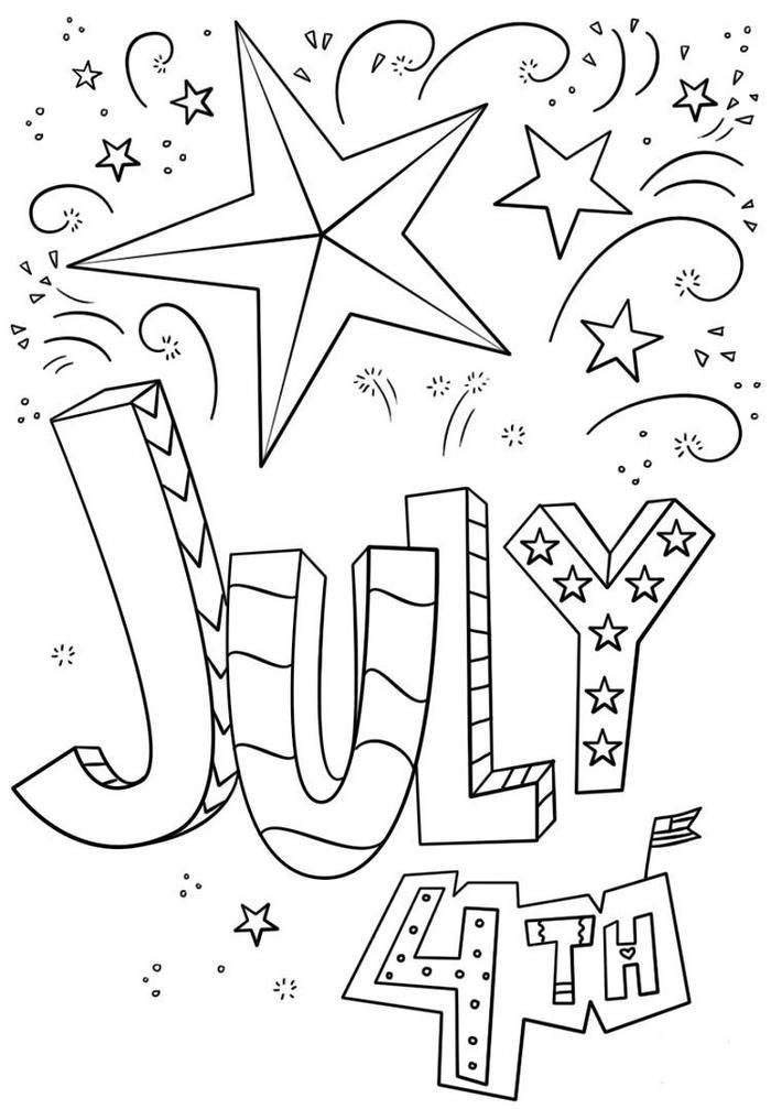 4th Of July Doodle Coloring Pages