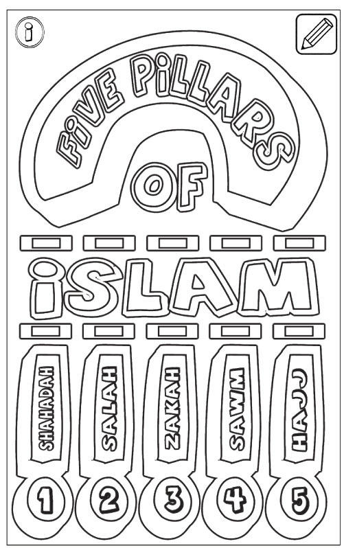 5 Pillars Of Islam Coloring Page