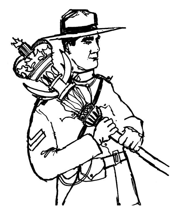 A Brave National Ranger On Canada Day Coloring Pages