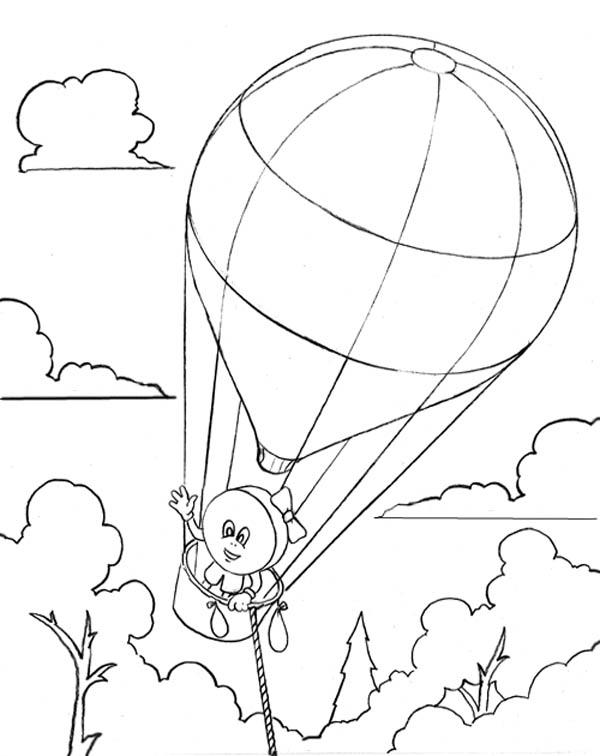 A Candy On Hot Air Balloon Coloring Pages