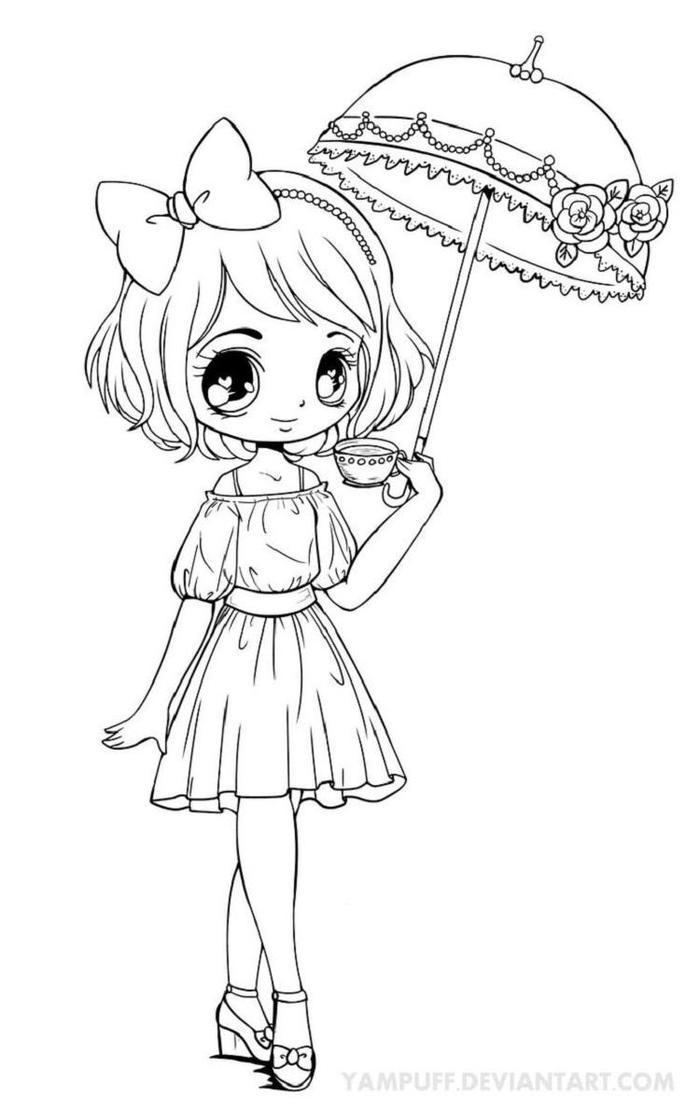 A Chibi Girl Coloring Pages