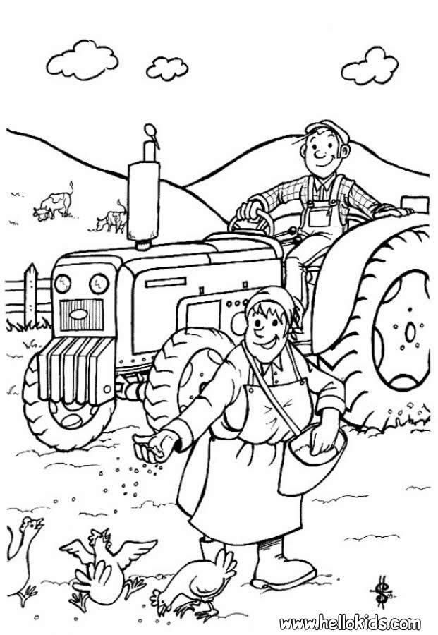 A Couple Of Farmers Coloring Pages