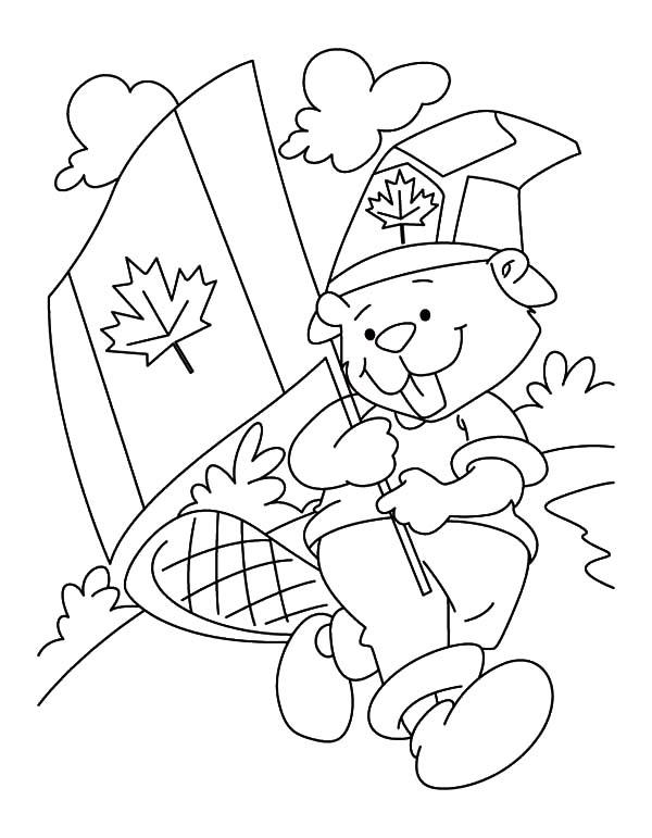 A Fluffy National Beaver Boyscout On Canada Day Coloring Pages