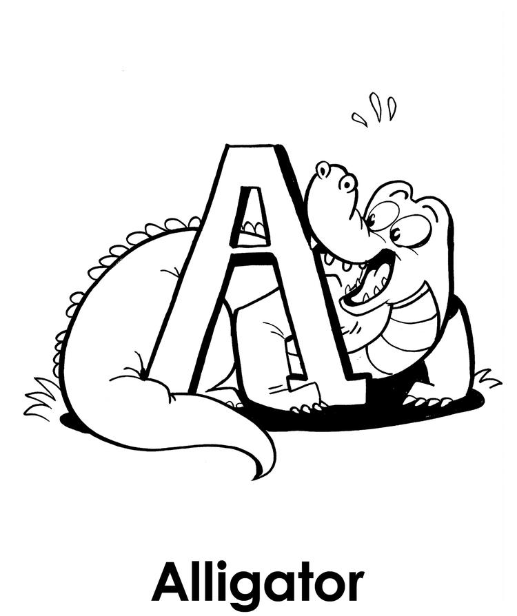 A For Alligator Coloring Pages Free