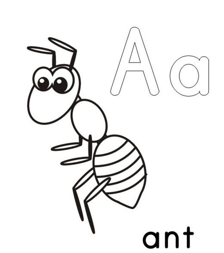 A For Ant Alphabet Coloring Pages Printable1