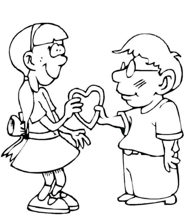 A Gift For You Valentine Coloring Page