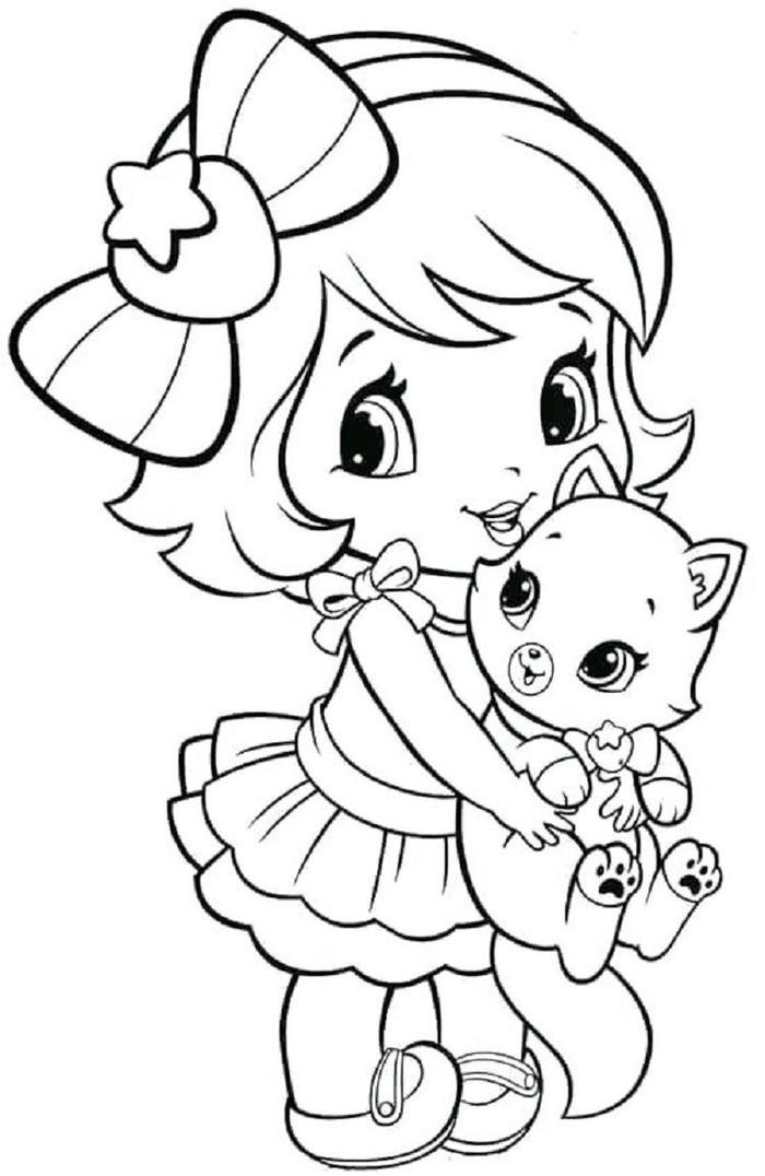 A Girl And Kitten Coloring Pages