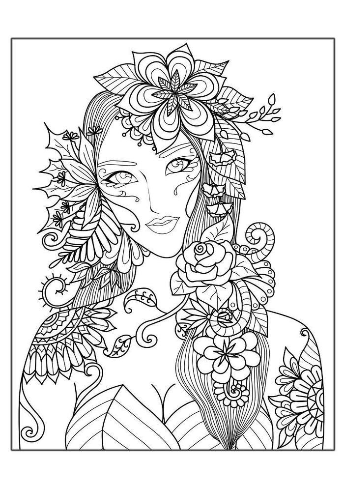 A Girl Coloring Pages Stress Relief