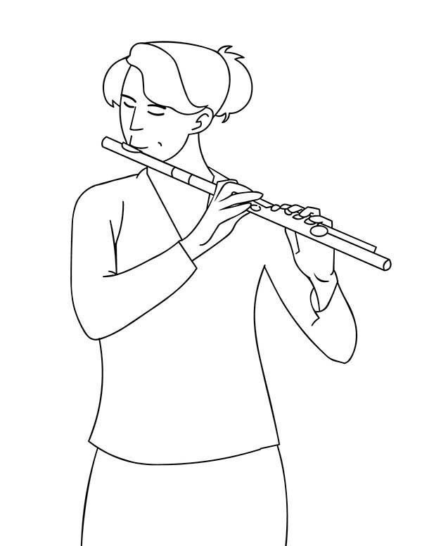 A Girl Play Musical Instruments Flute Coloring Pages