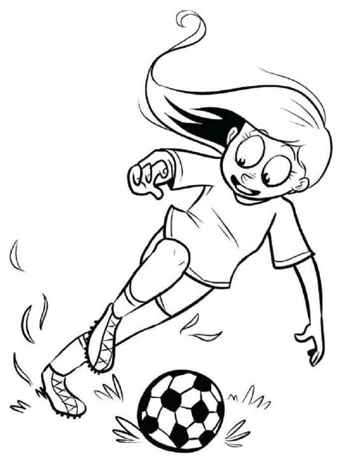 A Girl Playing Soccer Coloring Pages