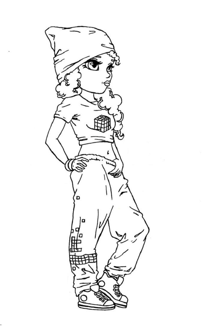 A Hip Hop Girl Coloring Pages