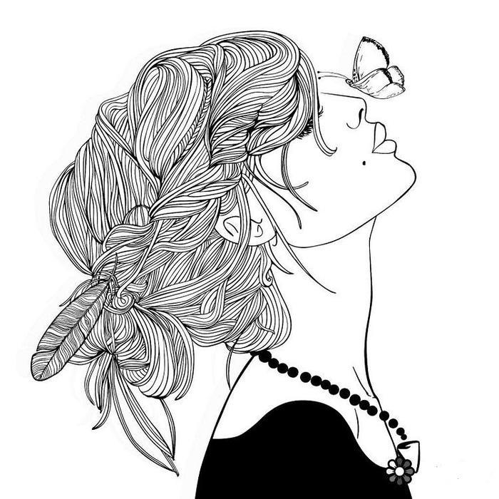 A Hipster Girl Coloring Pages