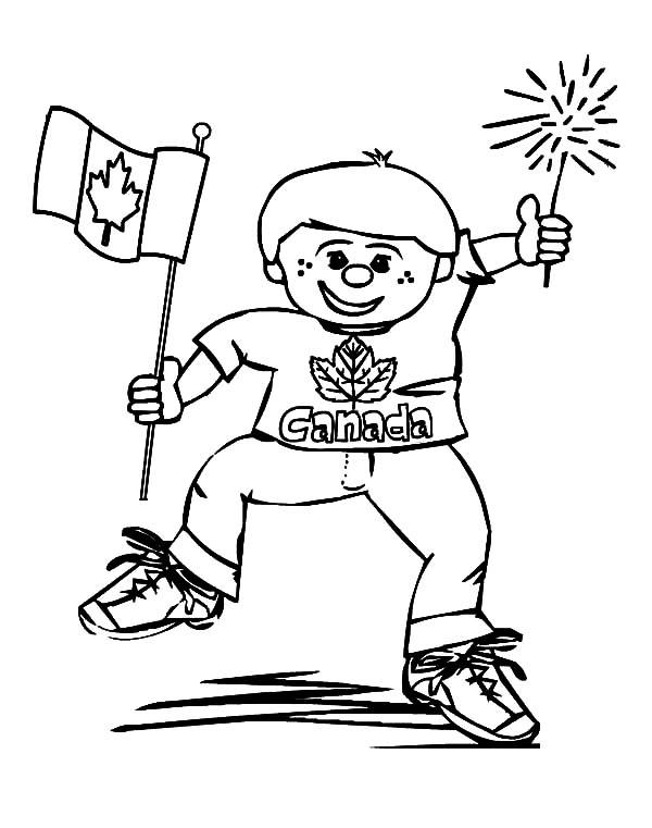 A Joyous Little Boy On Canada Day Coloring Pages