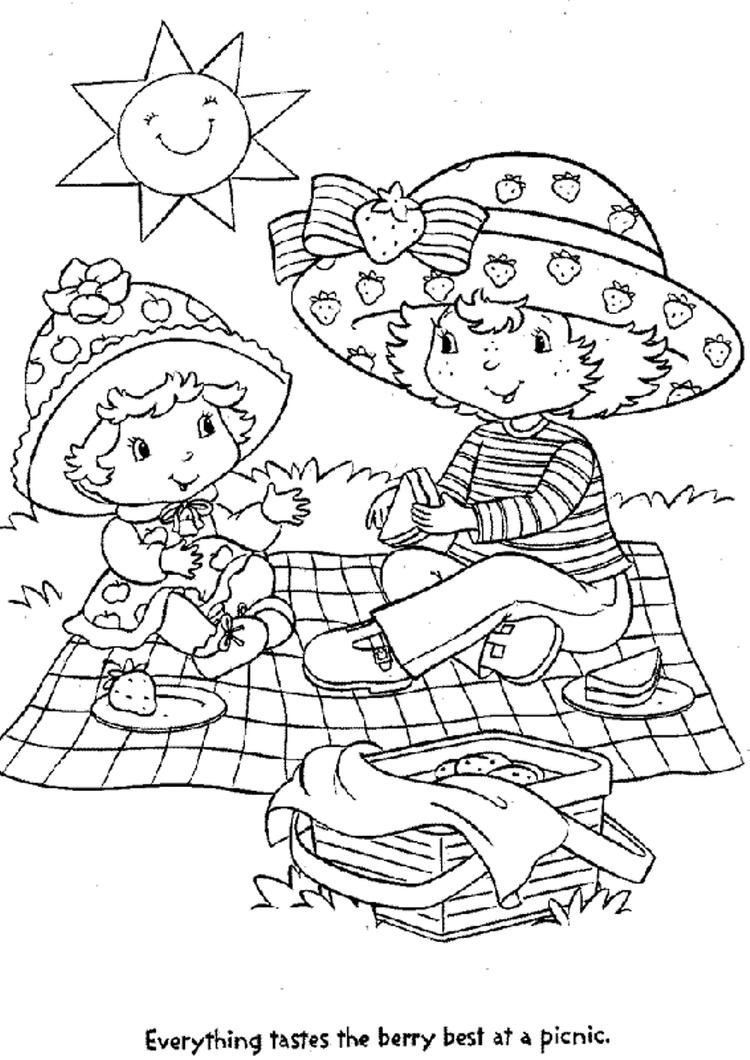 A little girl and strawberry shortcake coloring page