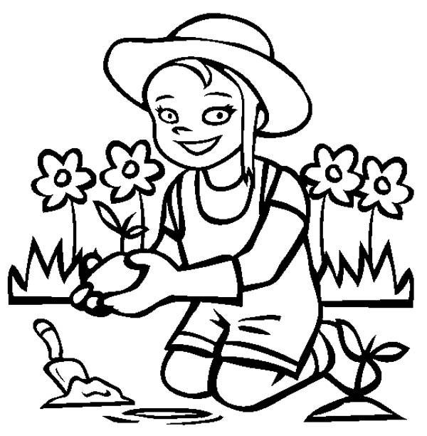 A Little Smile When Gardening Coloring Pages