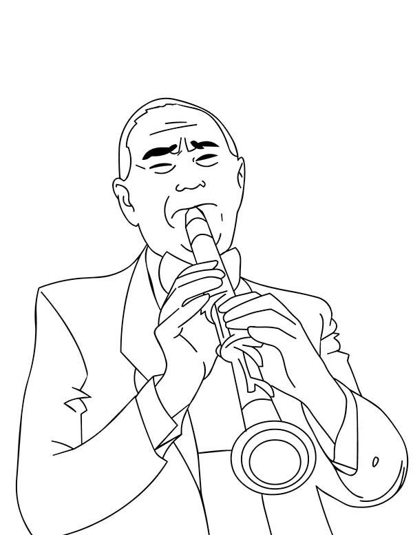 A Man Playing Clarinet Beautifully In Musical Instruments Coloring Pages