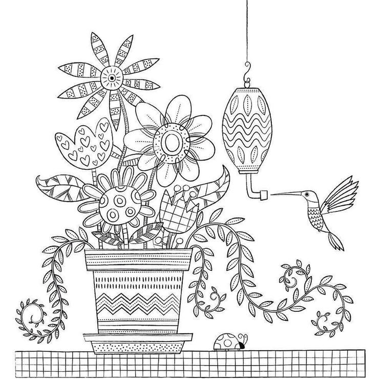 A Vase Of Flower In Room Home Sweet Home Coloring