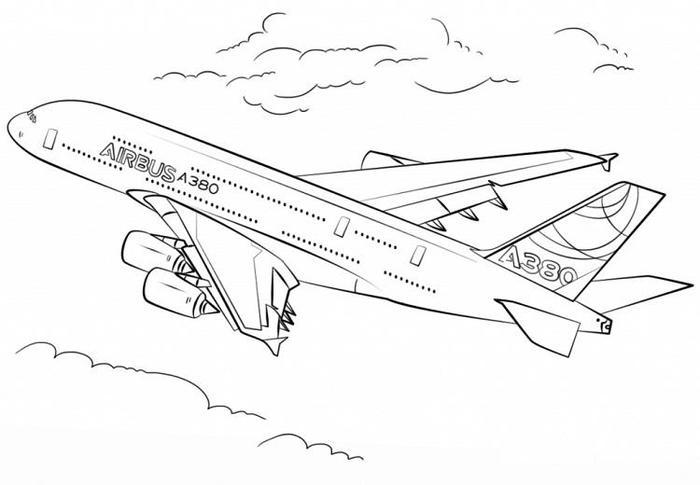 A380 Airplane Coloring Pages