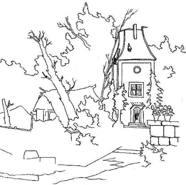 Abandon House Landscapes Coloring Pages