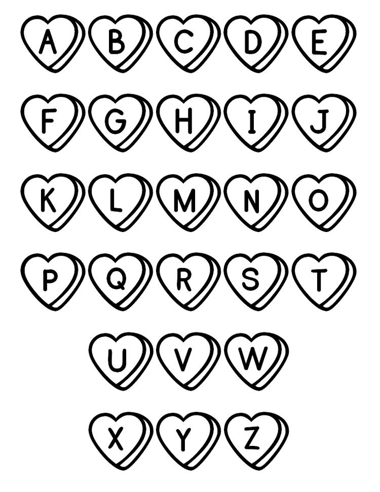 Abc Coloring Pages Love Hearts