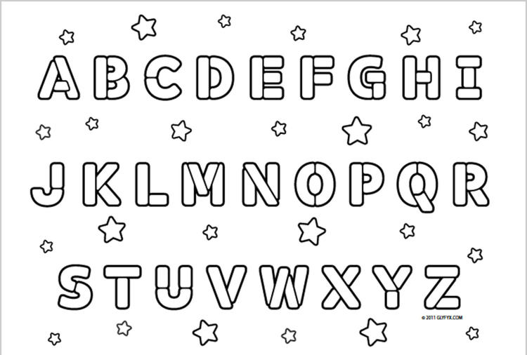 Abc Coloring Pages With Stars