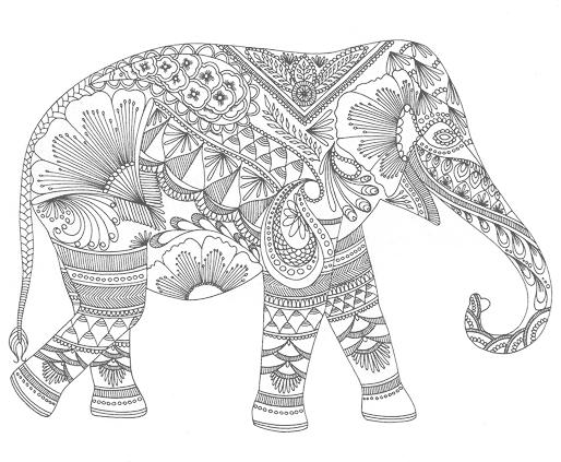 Abstract Elephant Coloring Pages For Adults For Free