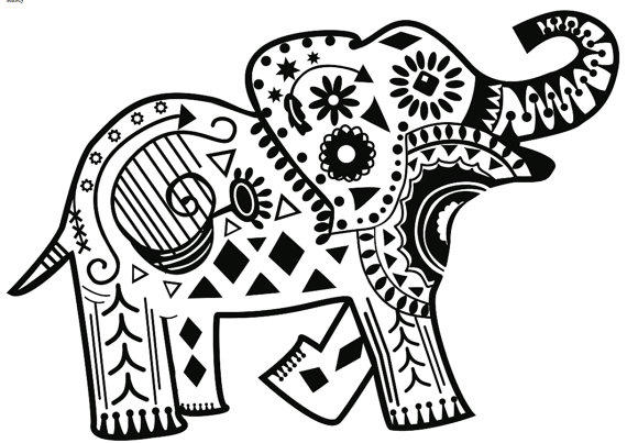 Abstract Elephant Coloring Pages For Adults Print Out