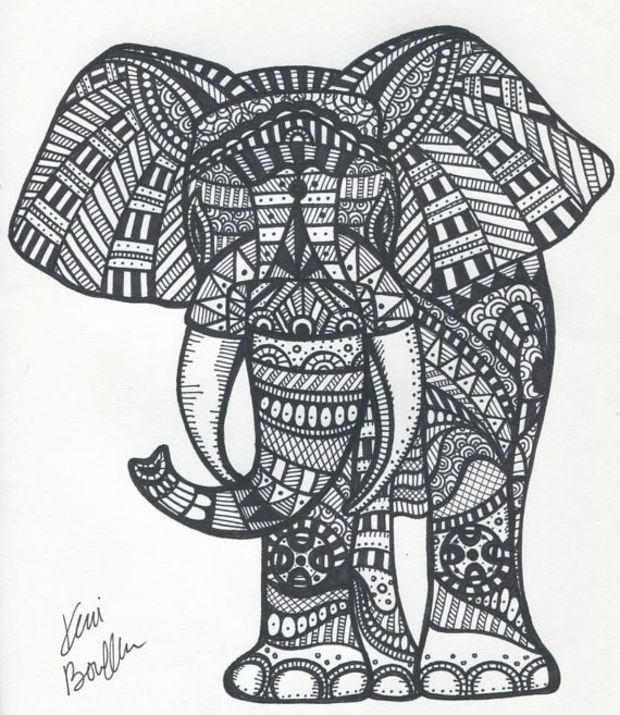 Abstract Elephant Coloring Pages For Adults Printable 1