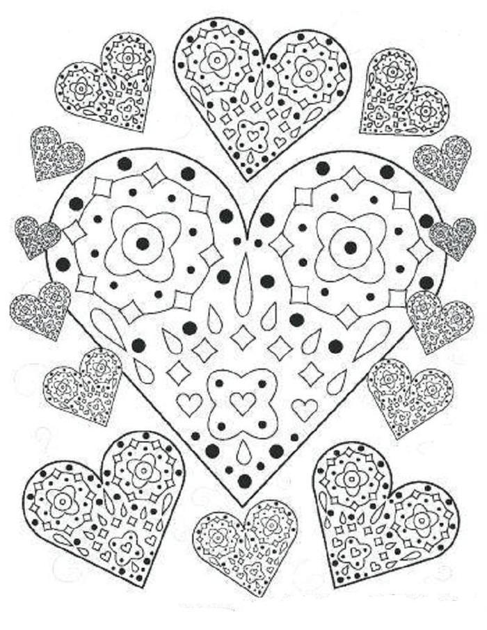 Abstract Hearts Coloring Pages