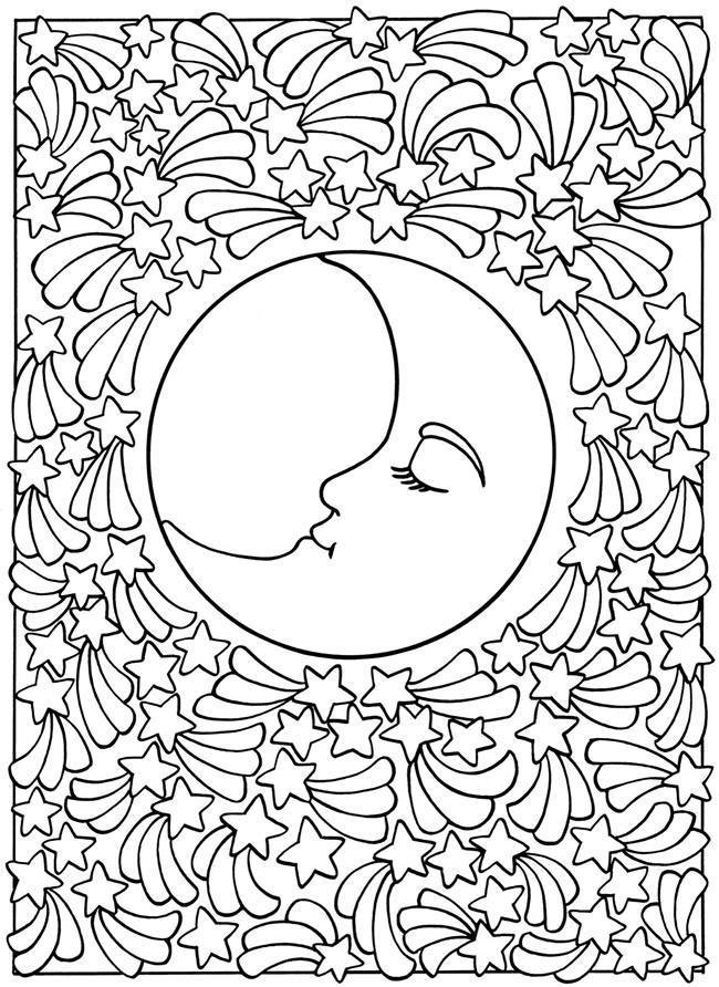 Abstract Moon Coloring Pages For Teens