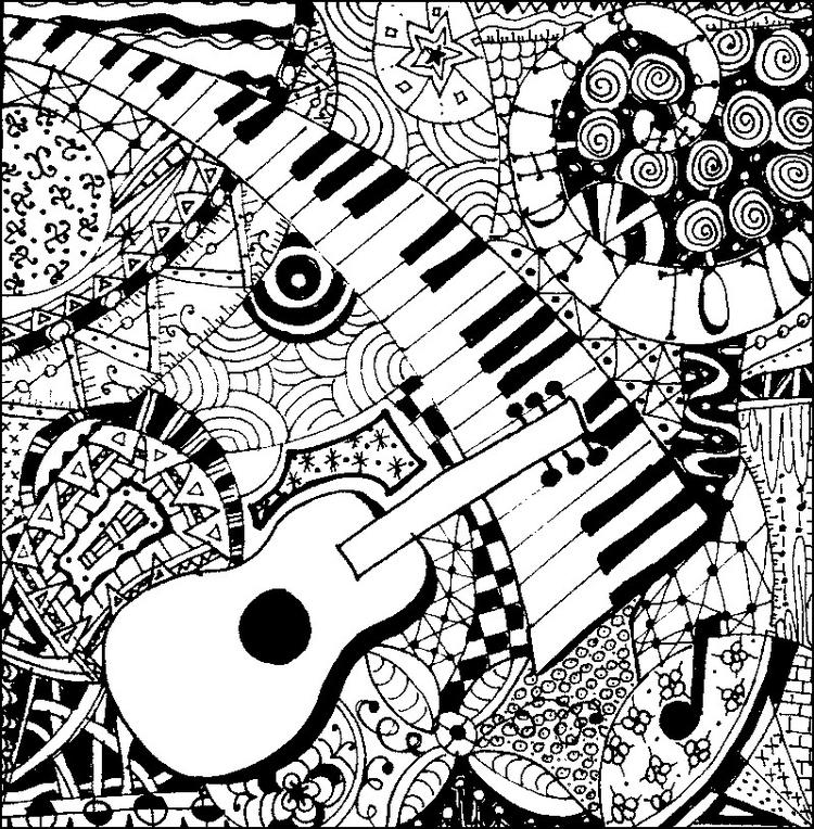 Abstract Music Coloring Pages For Adults