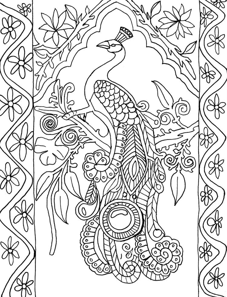 Abstract Peacock Coloring Pages For Adults