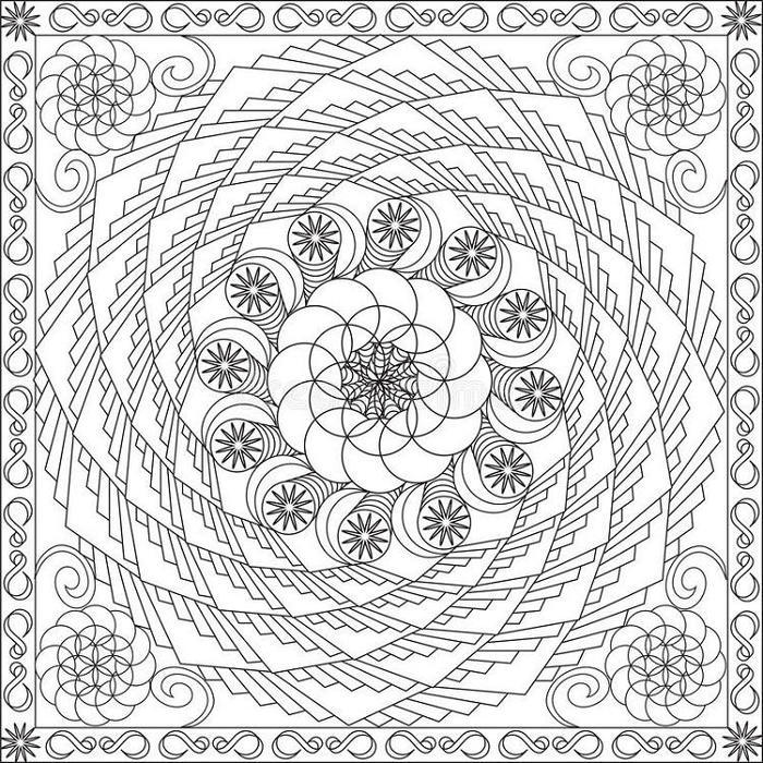 Abstract Spiral Coloring Pages