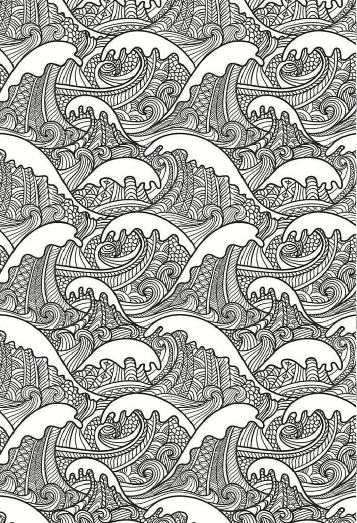 Abstract Waves Coloring Pages