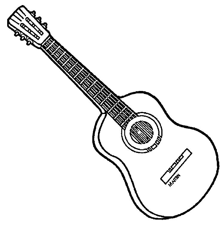 Acoustic Guitar Coloring Pages Printable