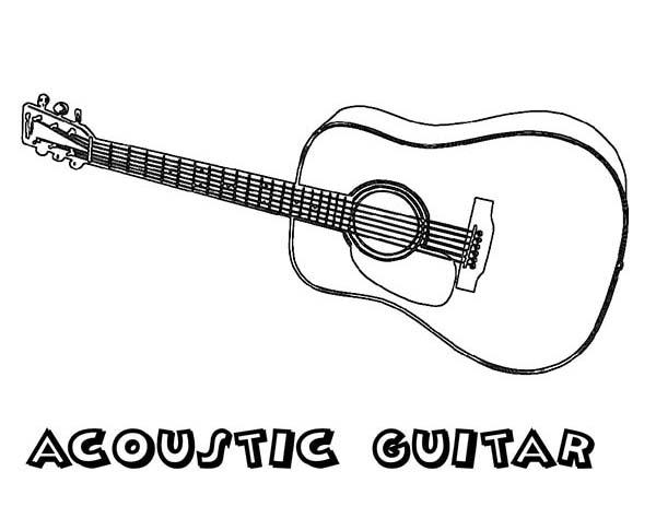 Acoustic Guitar Is A Musical Instruments Coloring Pages