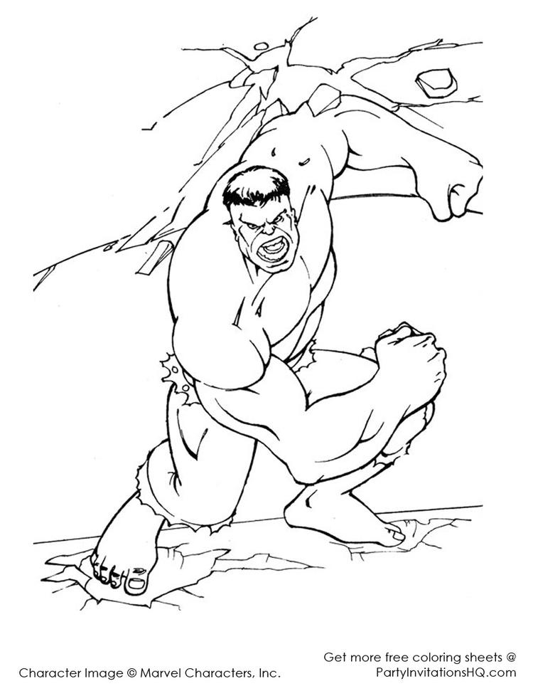 Action Marvel Coloring Pages Hulk