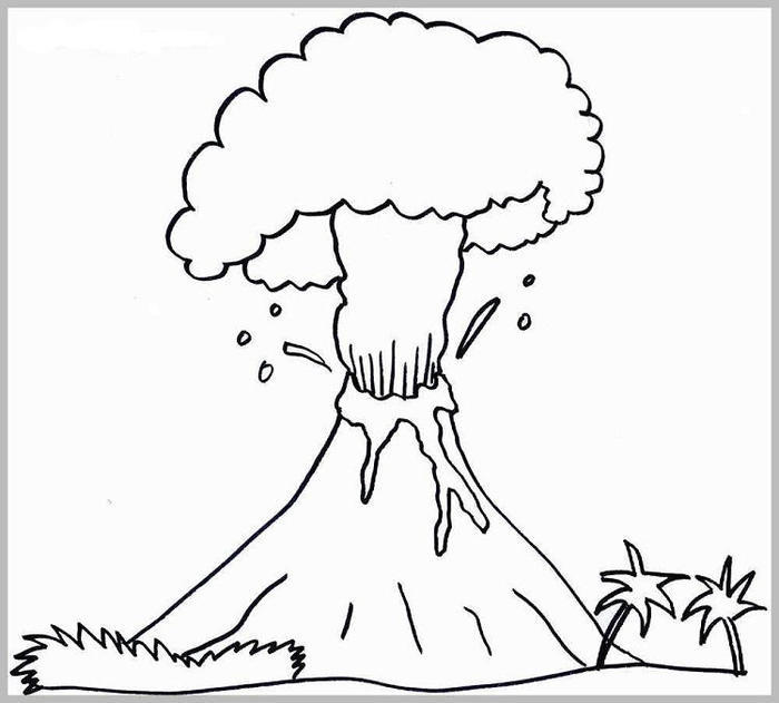 Active Volcano Coloring Pages