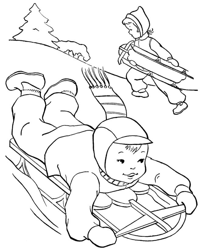 Activities In Winter Coloring Page