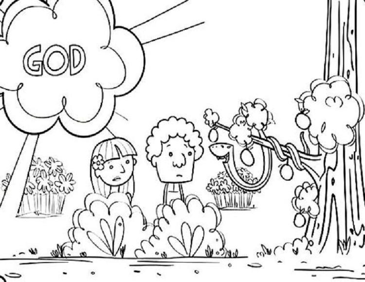 Adam And Eve Apple Coloring Page