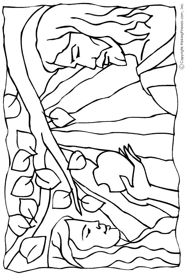 Adam And Eve Coloring Pages And The Forbidden Apple