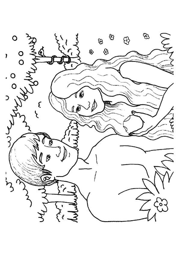 Adam And Eve Coloring Pages Eating The Apple