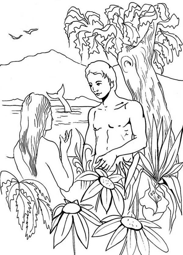 Adam And Eve Coloring Pages In Eden